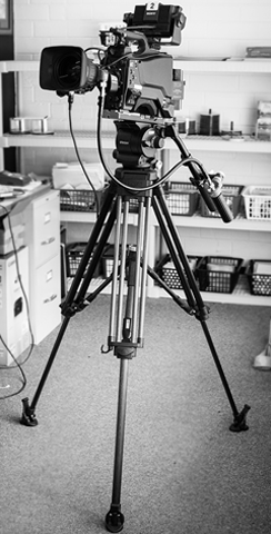 Video Equipment Video Camera on Tripod